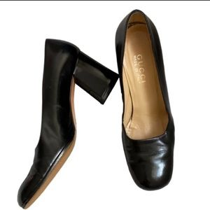 Gucci Black Patent Leather Chunky Heels Size 8